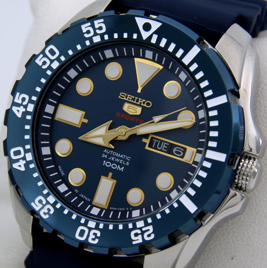 """Seiko - Automatic 24 Jewels """"Blue - Gold Tone"""" Made in Japan - Men - 2018"""