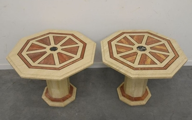 Set of 2 travertine lounge tables (Ht 54...