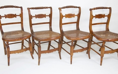 Set of Four New York Strong Tiger Maple Caned Seat Dining Chairs, circa 1820