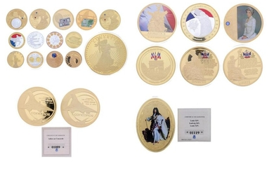 Set of various medals in gold metal including