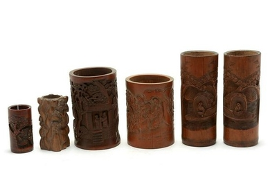 Six Chinese Carved Wood and Bamboo Brush Holders.