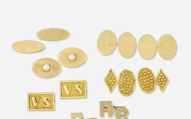 Six pairs of gold cufflinks