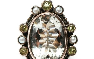 Sterling Silver Faux Gems & Pearls Ring