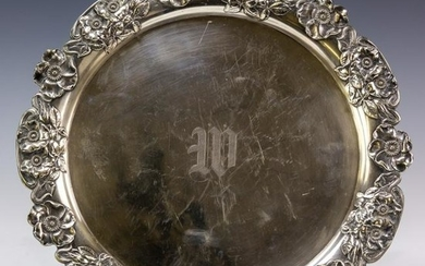 Sterling Silver Round Floral Monogrammed Tray 602g