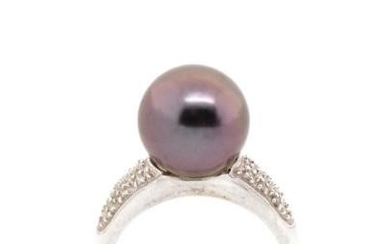 Tahitian pearl, diamond and 18ct gold ring marked 18k to whi...