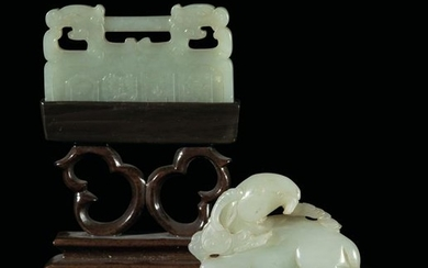 Two Celadon jade items, China, early 1900s