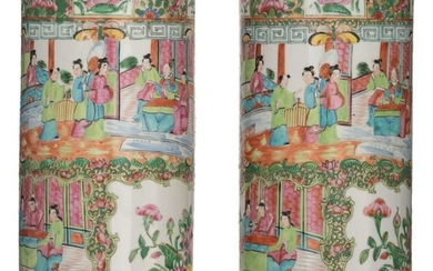 Two Chinese Canton cylindrical vases, decorated with birds...