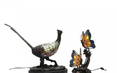 Two Figural Stained Glass Lamps
