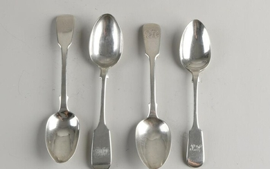 Two antique 925/000 silver dessert spoons, egg-shaped