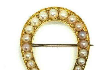 VICTORIAN Natural Pearl Yellow Gold Horseshoe Brooch