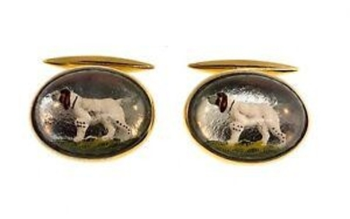 Victorian Gold Reverse Painting & Glass Cufflinks