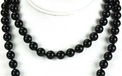Vintage Miriam Haskell Necklace w Faux Black Onyx