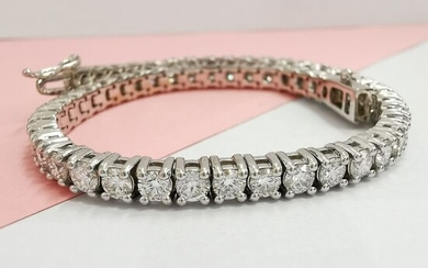 White gold - Bracelet - 6.00 ct Diamond - AIG NO RESERVE CERTIFIED