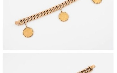 Yellow gold (750) bracelet with a filed-in mesh...