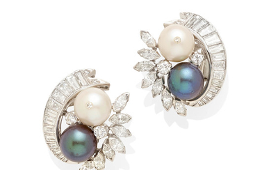 a pair of diamond, colored cultured pearl and cultured pearl earclips