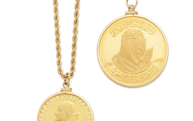 a papal commemorative medallion together with a saudi arabian mecca medallion