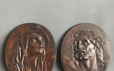 after Guido Reni (1575, 1642) - Pair of ovals - wood, plaster - Early 1900s