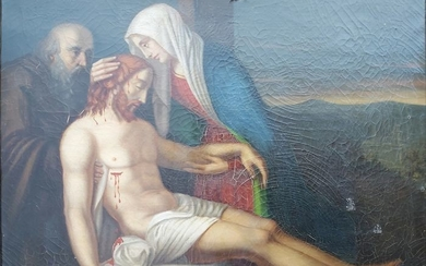 oil painting on canvas (1) - The pieta deposition of the body of Christ 1852 - 19th century