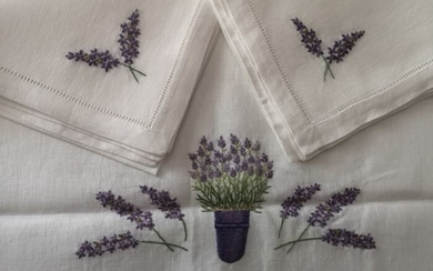 tablecloth x 12 Bellavia pure linen and hand embroidery - Linen