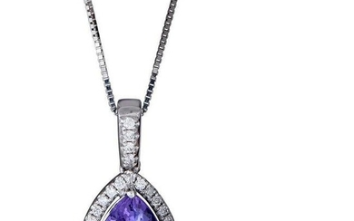 10K White Gold Tanzanite & Diamond Pendant