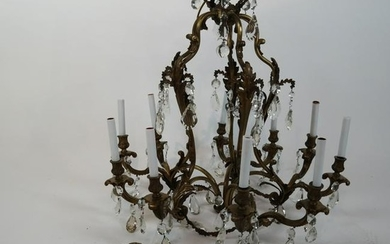 12-Light Bronze and Crystal Chandelier
