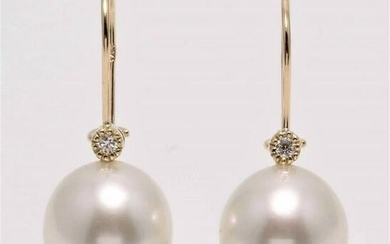 14 kt. Yellow Gold - 11x12mm South Sea Pearls