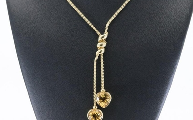 14Kt Yellow Gold Necklace w/ Heart Citrine