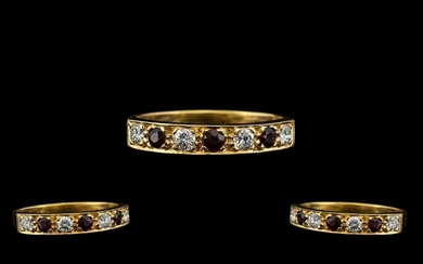 18ct Gold - Excellent Quality Seven Stone Diamond and Ruby S...