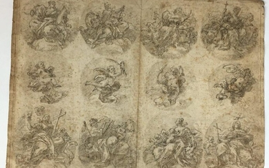 18th century ITALIAN SCHOOL Study sheets Pen and brown ink, grey wash on black pencil sketch 36 x 47.5 cm Folds, stitching Expert: Cabinet de BAYSER