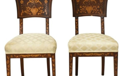 (2) DUTCH MAHOGANY FLORAL MARQUETRY SIDE CHAIRS