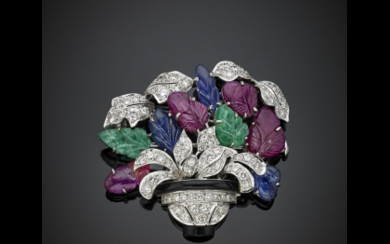 Diamond and platinum flower vase brooch with carved ruby,...