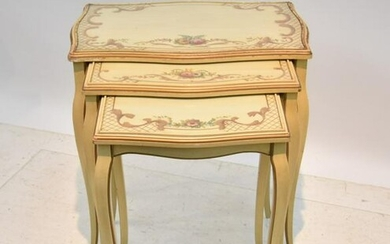 3-TIER PAINT DECORATED NESTING TABLE