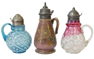 3 Victorian Syrup Pitchers Dated