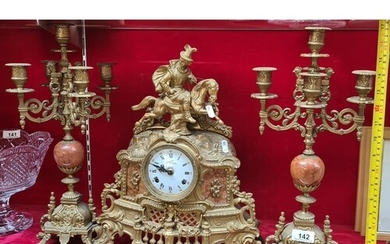 3 piece Clock set. Lancini Bronze and Marble clock set. Made...