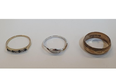 3 x 9ct rings, one yellow gold 1/2 eternity 4 Sapphire and 3...