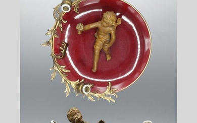 French Porcelain and Metal 2-Light Putti Wall Plaque