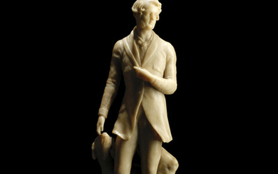 Richard Cockle Lucas (British 1800-1883): A second quarter 19th century wax portrait figure of a Gentleman with a Dog dated 1837