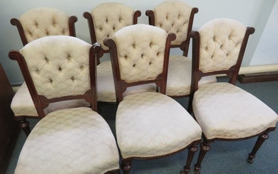 6 Victorian upholstered dining chairs on original casters, circa...