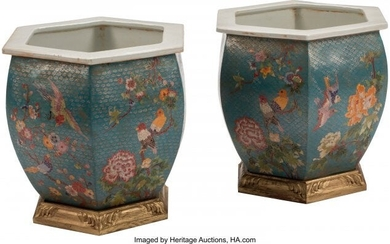 61442: A Pair of Chinese Cloisonné Enameled Porc