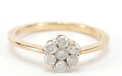 9ct gold diamond flower head ring, size Q, approximately 0.5...