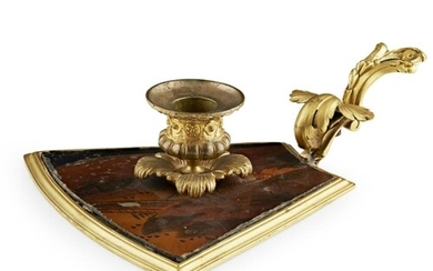 A 19TH CENTURY FRENCH GILT BRONZE AND LACQUERED CANDLE STAND...