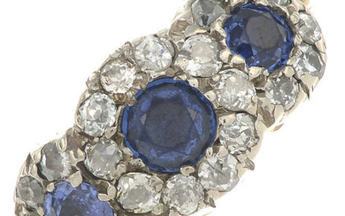 A 19th century 18ct gold sapphire and old-cut diamond triple cluster ring.