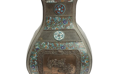 A 19th century Chinese angular Hu shaped bronze and cloisonné enamel vase. H. 45 cm....