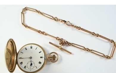 A 9CT GOLD FULL HUNTING CASED POCKET WATCH the white enamel ...