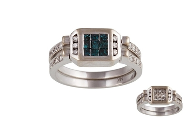 A BLUE AND WHITE DIAMOND INTERCHANGEABLE RING, in 14ct white...
