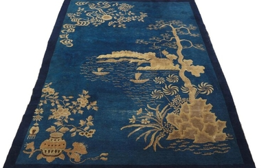 A CHINESE 'PAO TU' PICTORIAL CARPET QING DYNASTY (1644-1912), CIRCA 19TH CENTURY