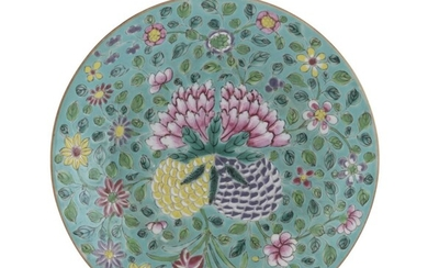 A CHINESE POLYCHROME ENAMELED PORCELAIN DISH 19TH CENTURY.