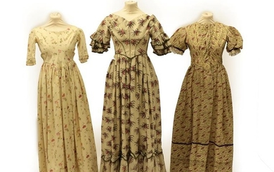 A Circa 1840's Wool Dress, printed with large pink floral...