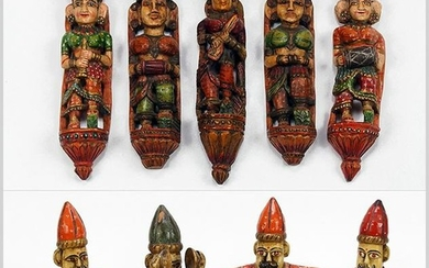 A Collection of Indian Polychrome Painted Carved Wood