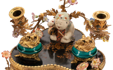 A French Chinoiserie Gilt Bronze Mounted Porcelain and Lacquer Inkwell (early 19th century)